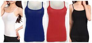 New Womens Vest Ladies Size 1 to 4XL Strap Vest Tank Top Camisole Casual Vest