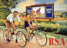Vintage BSA Cycles Bicycle Cycling Fitness Travel Advertisment Poster Print A4