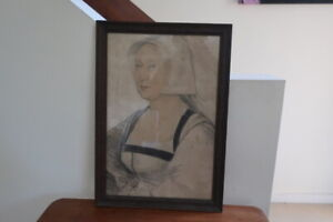 Vintage  Framed Lithograph Print Hans Holbein The Younger From The Royal Collect