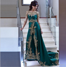 Green Arabic Dubai Muslim Embroidery Robe Beaded Lace Formal Evening Dresses