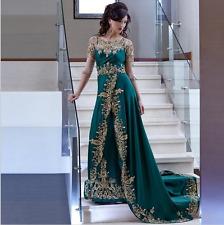 New Beaded Lace Formal Dresses Green Arabic Bespoke Dubai Muslim Embroidery Robe