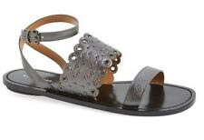 Women's Shoes Authentic COACH CLARABEL Sandals Leather Gunmetal or Chalk White