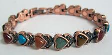 HEART MIXED STONES COPPER MAGNETIC LINK BRACELET  jewelry health mens womens