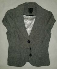 Women's Gray Pinstripe Blazer Top with Shoulder Pads Size Large