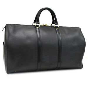 Auth LOUIS VUITTON Epi Keepall 50 M42962 Traveling bag Black Leather AL2406
