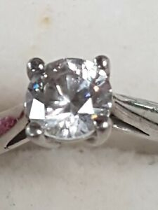 Vintage 1 Carat Sterling Silver Solitaire Cubic Zirconia Ring Size 6.75 Claw Set