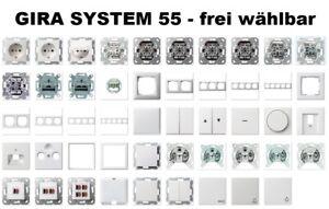 GIRA System 55 / E2 Reinweiß glänzend Schalter/Steckdose/Rahmen - frei wählbar