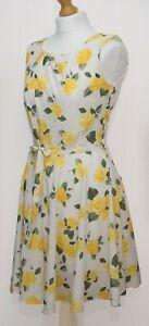 Mela Loves London Floral White Yellow Dress Size 12 UK