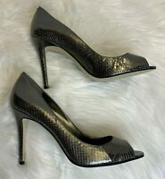 Enzo Angiolini Leather Heels Pumps Women's Size 10 M Platinum Embossed Merryann