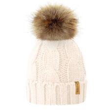Women Kids Baby Mom Warm Winter Knit Beanie Fur Pom Pom Hat Crochet Ski Cap AY