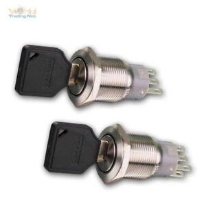 Interrupteur à Clé Inox 1/2-polig 250V- 3A Ø19mm ,IP50 ,Entièrement en Métal