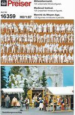 Preiser 16359 Mittelaltermarkt 125 Unbemalte Figuren H0