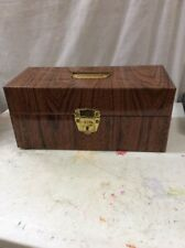 Mid Century metal storage file box vintage Wood Paint  Portafile 5.5x5.5x12.5
