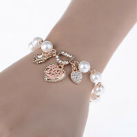 UP Fashion Gold Plated Women's Jewelry Crystal Heart Bangle Pearl Bracelet Hot