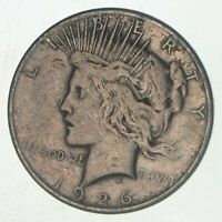 Early - 1926-S - Peace Silver Dollar - 90% US Coin San Fransisco Minted VG-XF