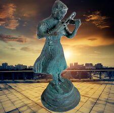 Figur Geigerin Bronze grüne Patina Vintage Kunstwerk Plastik & Skulptur Dekorati
