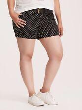 Torrid Polka Dot Print Belted Sateen Shorts Black 26 #41140 Measurements Below