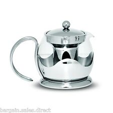SABICHI MODERN 1200ml STAINLESS STEEL & PYREX GLASS TEA POT WITH INFUSER