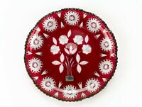 Lausitzer Ruby Red Cut to Clear Hobstar & Roses Cake Plate, Vintage w Label 11""