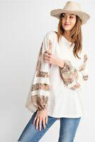 Easel Oversized Paisley Print Long Sleeve Slub Knit Tunic Top