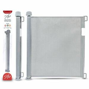 Grey Retractable Mesh Stair Gate 0-160cm Narrow to Extra Wide, Indoor & Outdoor
