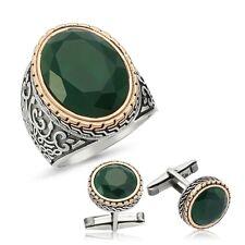Bague Chevalière et Boutons Manchettes en Argent massif 925 Serti jade Silver