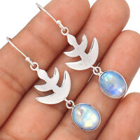 Rainbow Moonstone 925 Sterling Silver Earrings Jewelry EE80894