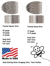 TWISTED Sterling Silver Wire Square & Round 20 19 18 16 13.5 gauge DS HH FH 5 ft