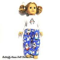 """Penguins Flannel Pajama Set 18"""" Doll Clothes Fit American Girl Doll"""
