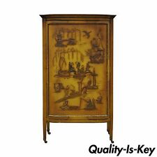 Charmant Vintage Oriental Chinese Asian Lacquered Figural Painted Mirrored Cabinet  Curio