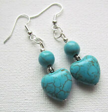 Turquoise Howlite Gemstone Heart Drop/Dangle PIERCED Earrings Jellybean