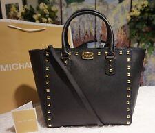 NWT MICHAEL KORS SAFFIANO STUD Large Tote Crossbody Bag BLACK/GOLD Leather $448