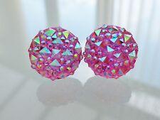 Small Round Sparkly Pink Ab Crystal Diamante Stud Rhinestone Glitter Earrings