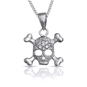 Pave Set Simulated 925 Sterling Silver Skull and Crossbone Pendant