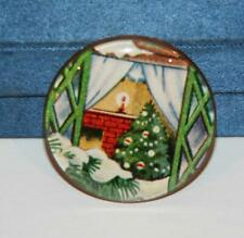 """One 1 5/16"""" Glass Covered Ceramic & Lithograph Christmas Button, Signed MLW A++"""