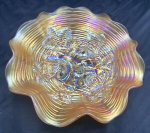 CARNIVAL NORTHWOOD MARIGOLD ROSE SHOW RUFFLED BOWL WITH REEDED EXTERIOR