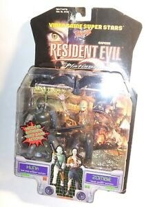 Vintage 1998 Resident Evil 2 ToyBiz HUNK & ZOMBIE Action Figures MOC Capcom