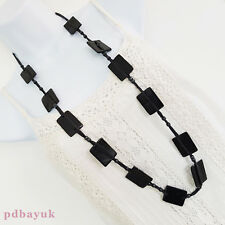 "Ladies LONG Big Flat Rectangle Bead Hippy Boho Necklace 101.5cm 40"" ~1842"