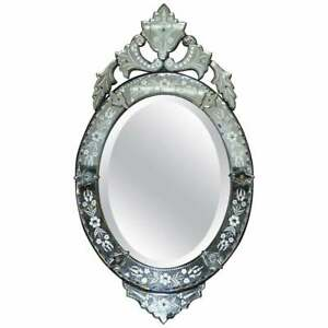 CIRCA 1890 VENETIAN ETCHED GLASS FRAME, WROUGHT IRON OUTER CASING FRENCH MIRROR