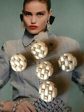 5x CC CoCo Knöpfe Chanel 2cm Jacke Mantel Kostüm Kleid Hose  Gold Perlmutt weiß