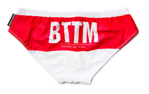 Mens Small BOTTOM Red Spandex Bikini Briefs Swimwear Underwear Beach Gay UK