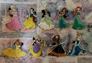 Disney Pins Princesses Set Of 9 Tangled Snow White Tiana Jasmine Cinderella