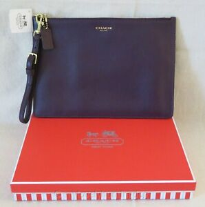 NWT Auth Coach Leather Flat Zip Pouch with Gift Box Bag Purse Purple 50721B