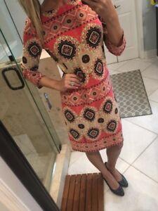 London Times Women's Dress - Multi-color Geometric Print Shift Dress- Size 6