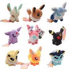 Set of 9 New Pokemon Evolution of Sit Eevee Sylveon Umbreon Leafe Plush doll Toy