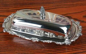Vintage Lunt Silverplate Butter Dish