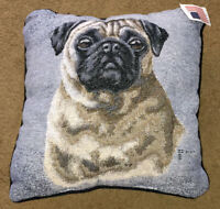 """Pug Tapestry Square 17"""" Pillow ~ Artist, Judy Gibson"""