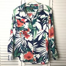 Tommy Bahama Women's 100% Linen Tropical Button Down Long Sleeve Size Small