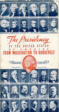 """1932 """"The Presidency - Washington To Roosevelt"""" Advertising Booklet, Fire Ins."""