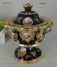 Limoges Style Tureen With Cover   in Cobalt Blue & Gold Romance Design -11""